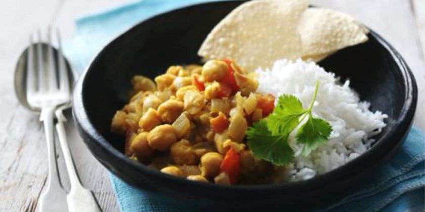 Chickpea Curry with Tomato & Chilli Chutney